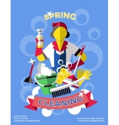 Cleaning Colored Poster vector image
