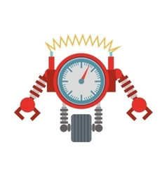 clock robotic machine pincers arms wheel vector image