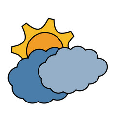 Cloud and sun icon vector