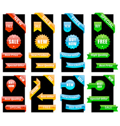 colorful collection sale ribbons and labels vector image