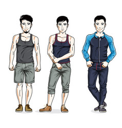 Confident handsome men group standing wearing vector