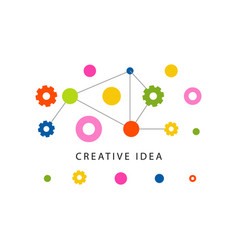creative idea logo template with colorful gears vector image