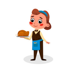 Cute girl chef character holding tray vector