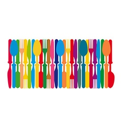 Cutlery colorful background vector image