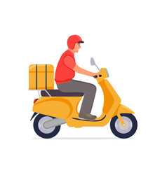 Delivery guy on moped is carrying parcel vector