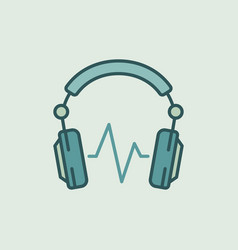 dj headphones with sound wave icon or vector image