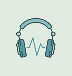Dj headphones with sound wave icon vector