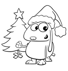 dog with christmas tree coloring book vector image