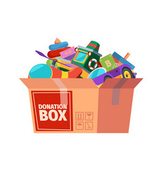 Donation box children toys in containers carrying vector