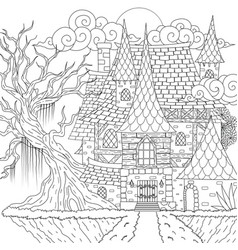 Drawing medieval haunted house happy halloween th vector