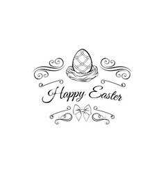 easter eggs in nest decorated swirls bow ornate vector image