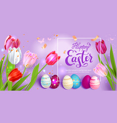Easter eggs on violet background vector