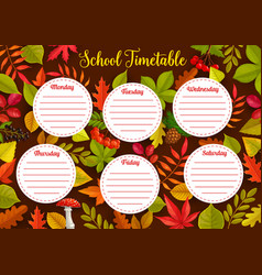 education school timetable with autumn leaves vector image