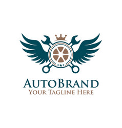 emblem tire wheel wrench with wings logo auto vector image