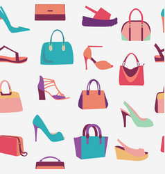 fashion women bags handbags and high heels shoes vector image