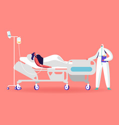 Female character lying in clinic department vector