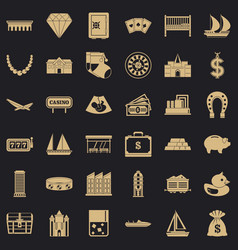 finance icons set simple style vector image