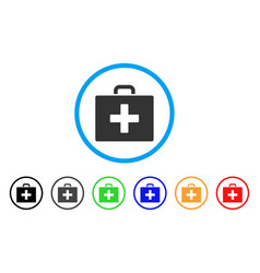 first aid bag rounded icon vector image