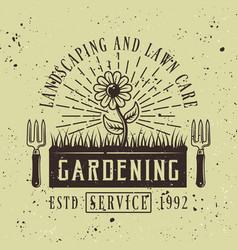 Flower colored emblem for gardening service vector