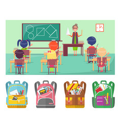 geometry educational lesson in school for pupils vector image