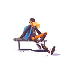 Girl sitting on bench vector
