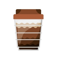 Glass disposable for cappucino with lid vector