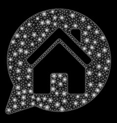 Glowing mesh 2d house mention with flare spots vector