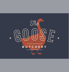 goose logo with goose silhouette text goose vector image
