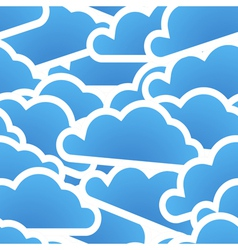 Group of blue clouds seamless background vector image