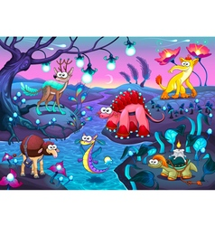 Group of funny animals in a fantasy landscape vector image
