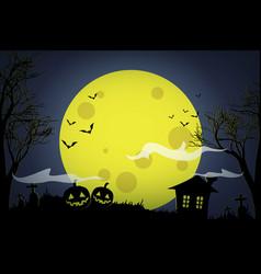 halloween pumpkins and dark house on yellow moon vector image