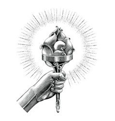 hand holding torch hand sketch vintage style vector image