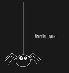 happy halloween card with spider on black vector image