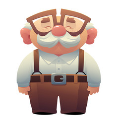 happy smiling grandfather wearing glasses with a vector image