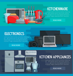 Home appliance banner of kitchenware electronics vector
