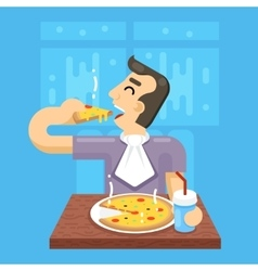 Hot Pizza Man Eat Symbol Icon Concept on Stylish vector image