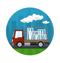 Icon of red small truck transports windows vector