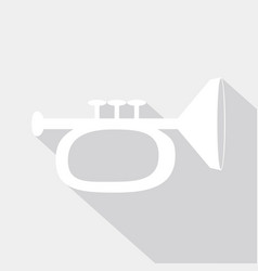 Icon trumpet with a long shadow vector