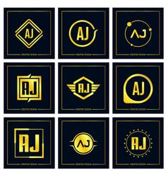 initial letter aj logo set design vector image