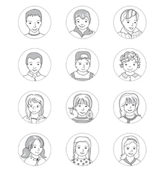 Kid avatar set thin line vector image
