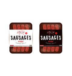 Label design for packaging pork sausage vector