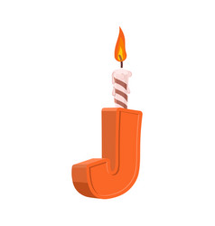 Letter j birthday font letter and candle vector