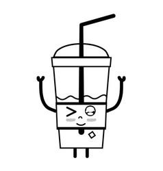 Line kawaii cute funny smoothie drink vector