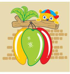 Little bear with fruit mango cartoon vector
