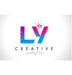 ly l y letter logo with shattered broken blue vector image