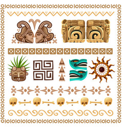 Mayan ornaments and patterns cartoon set vector