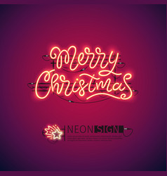 merry christmas red neon sign vector image