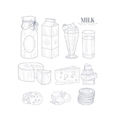 Milk And Dairy Products Isolated Icons Hand Drawn vector image