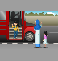 Mother picking up kid from school bus vector