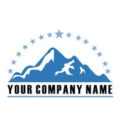 mountain star vintage logo vector image